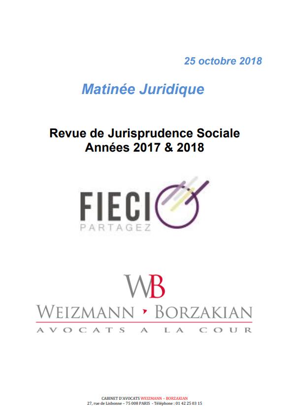 """6075701471e Annexes Matinale juridique 25 Octobre 2018 """"Revue de Jurisprudence Sociale  Années 2017   2018"""""""