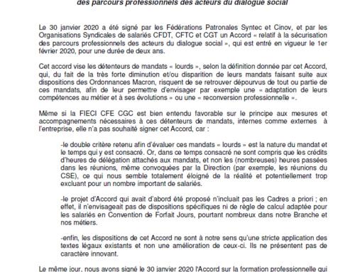 Non-Signature par la FIECI CFE CGC de l'Accord relatif à la sécurisation des parcours professionnels des acteurs du dialogue social