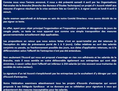 COMMUNICATION FIECI – NON SIGNATURE D'UN PROJET D'ACCORD SUR LES CONGÉS PAYÉS
