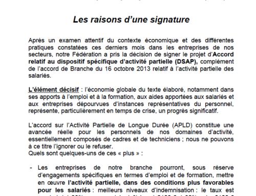 Covid 19 – Branche des Bureaux d'Etudes Techniques. Accord relatif au Dispositif Spécifique d'Activité Partielle (DSAP) – Les raisons d'une signature